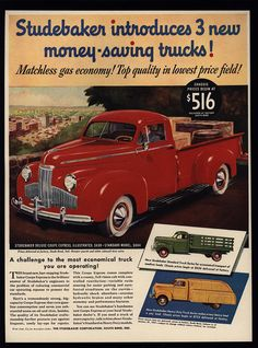 1941 STUDEBAKER Deluxe Coupe Express Red Pickup Truck - VINTAGE AD