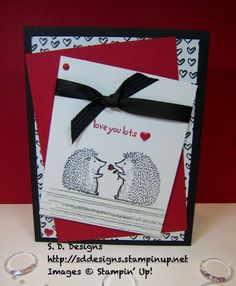 Lots of Love from Stampin' Up! with the DSP from Every day Chic, Basic black card base with the precious hedge hogs...I made this for my hubby and our anniversary.  Love the real red pop.