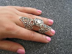 New Hot Silver Filigree Armour Knuckle Full Finger Cage Hinged Ring