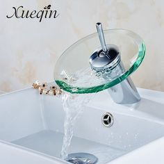 sale xueqin bathroom waterfall basin sink mixer tap faucet chrome polished glass edge faucet tap with water #glass #pipes