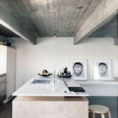 Kitchen love  via @sarah_cocolapine | kitchen and desk in one