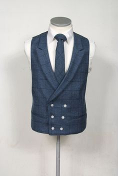 English tweed dark blue check wedding double breasted waistcoat to purchase