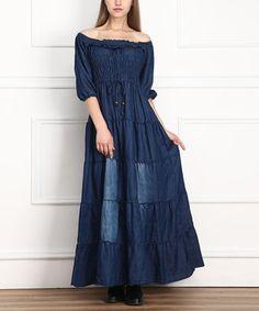 Dark Denim Smocked Peasant Maxi Dress - Women by Miss Maxi #zulily #zulilyfinds