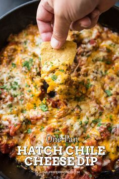 One-Pan Hatch Chili Cheese Dip - A zesty, super cheesy dip recipe made with roasted Hatch chili peppers, cheddar and Monterrey Jack cheeses and plenty of seasoning. Perfect for Game Day parties. #hatchchiles #gameday #diprecipe Hatch Green Chili Recipe, Green Chili Recipes, Hatch Chili, Mexican Appetizers, Appetizer Recipes, Dip Recipes, Mexican Food Recipes, Cooking Recipes, Tasty