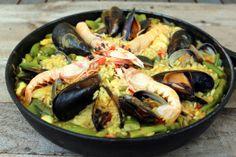 Receta tradicional de Paella de marisco o marinera - El Aderezo - Blog de Recetas de Cocina Ceviche, Cooking Time, Seafood, Ethnic Recipes, Beverage, Spanish, Blog, Pasta, Salads