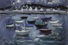 Anne Redpath (Escócia, 1895-1965), Boats at Concarneau""