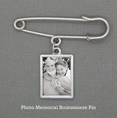 Wedding Boutonniere Memorial Picture Charm w/ Pin Kit