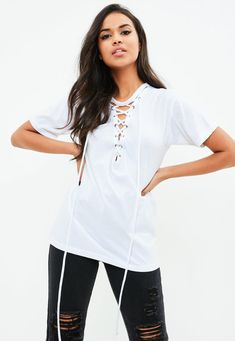 93170d440f3fd Missguided - White Lace Up Front Burnout T-Shirt Missguided Outfit