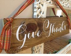 Give Thanks Thanksgiving Wooden Holiday Sign by SweetNCCollective
