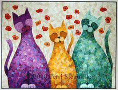 Three Catmigos by Terri Stegmiller.  Fused, free-motion quilted, painted