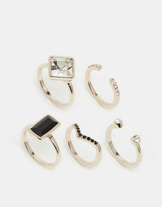 Oasis+Deco+&+Pave+Multi+Stacking+Rings