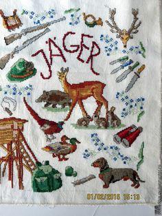 """Купить Вышитая Картина-пано """"Охотник"""" - бежевый, зеленый, охота, охотнику, охотник, дикие животные"""