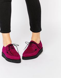 Image 1 ofUnderground Barfly Deep Red Suede Creeper Shoes