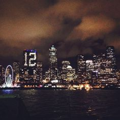 Stunning shot of the Seahawks 12th Man #Hawkitecture on the Russell Investments building from Bainbridge Island ferry!
