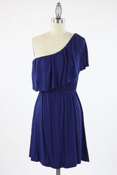 Kelly Brett Boutique: Women's Online Clothing Boutique - Bliss Shoulder Ruffle Dress Navy, $28.00 (http://www.kellybrettboutique.com/bliss-shoulder-ruffle-dress-navy/)