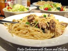 Pasta Carbonara with Chicken and Bacon by The Shady Porch