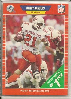 fa3ca887 1989 Pro Set # 494 Barry Sanders RC - Detroit Lions Rookie Football Card  Shipped In Protective Displ