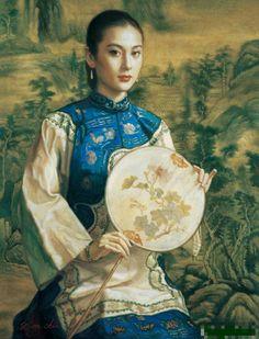 陈逸鸣油画作品:仕女系列-2 - 女子与山水 2005年作 作品尺寸:86.4*66cm