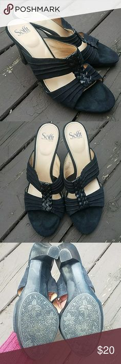 Sofft black suede slide sandals Black suede leather open toe slide sandals. Leather upper, man made balance. Great condition, soles like new. Sofft. Size 11m. Sofft Shoes Sandals
