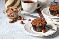 Melt-in-your-mouth Nutella muffins will become the hit of your breakfast! Nutella Muffins, Banana Pancakes, Cooking Time, Cooking Recipes, Candy Cakes, Peanut Brittle, Raisin Cookies, Roasted Almonds, Slow Cooker Beef