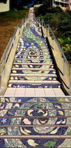 The 16th Avenue Tiled Steps, perhaps the world's longest mosaic staircase (163 steps, 82' high), was conceived and fabricated by Irish ceramicist Aileen Barr and San Francisco mosaic artist Colette Crutcher.