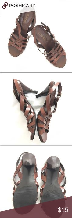 """Connie Brown Leather Strappy Low Heel Sandals Cute pair of heeled sandals for the summer! In excellent, pre-owned condition. Only worn once. Heel height 3"""". Stacked heel; man made sole, leather upper. Bundle to save money on your order and I love offers! 🎉😃🎉 Connie Shoes Heels"""