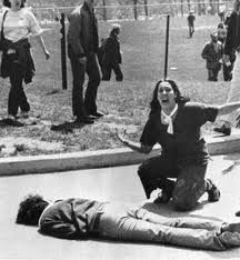 KENT STATE:  On May 4, l970 members of the Ohio National Guard fired into a crowd of Kent State University demonstrators, killing four and wounding nine Kent State students.