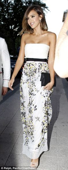 Jessica Alba attends the Floral Obsession Ball in a flowered dress #dailymail