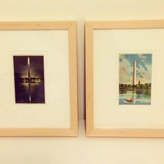 Pretty framed postcards make awesome vacation souvenirs! We love these vintage Washington, DC postcards in our #Marin frame.
