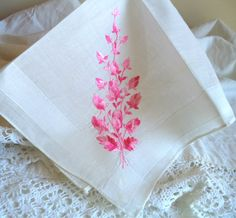 1950's White Embroidery Handkerchief Pink Floral by FranciesFare