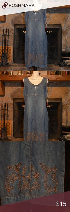 Denim / chambray sleeveless dress This is a size 12 sleeveless chambray/denim dress. NWT. I love this dress, it just did not fit me the way I'd like. Has embroidery at the hemline! French Cuff Dresses