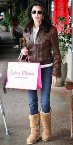 Terri Hatcher wearing classic tall chestnut uggs.