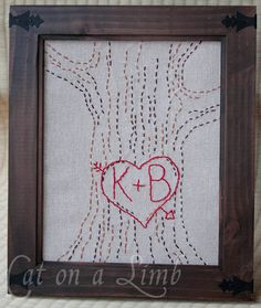 Tree love embroidery pattern