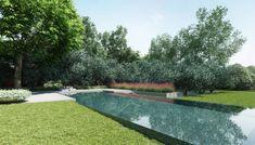Diseño de moderna piscina en patio