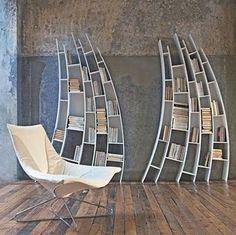 organic shaped bookshelf looks like it's swaying in the breeze
