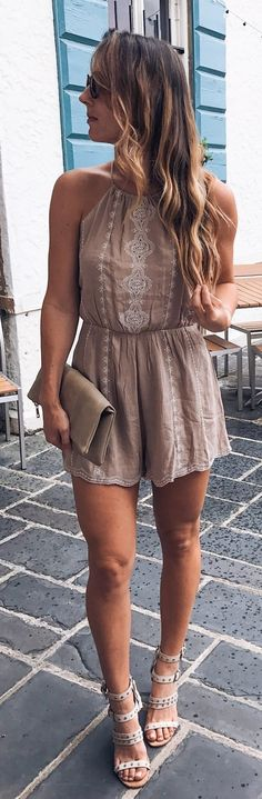 summer outfits Blush Embroidered Romper + Grey Sandals