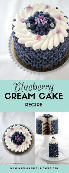 Blueberry Cream Cake Recipe by Make Fabulous Cakes