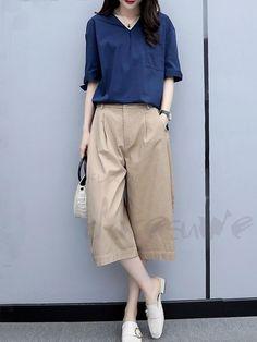 9d8a3f6b3cfce おしゃれセットアップ - Doresuwe.Com. #ファッション通販 #Fashion Doresuwe折り襟シャツ OL通勤レディースファッション ワイドレッグパンツ綺麗 ...
