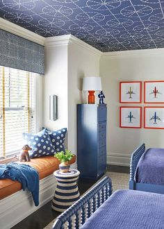 Bold, colorful kids room /// Yes, This Home Confirms the Updated Traditional Trend Isn't Going Anywhere Emily Henderson coined it first, but the updated traditional look has been trending all year. Step inside the home that proves it's here to stay Boys Bedroom Decor, Kids Bedroom Furniture, Blue Furniture, Design Bedroom, Lego Bedroom, Big Boy Bedrooms, Minecraft Bedroom, Childs Bedroom, Boy Decor