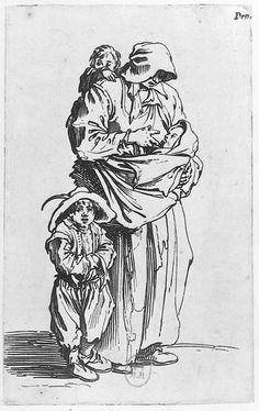 La mère et ses trois enfants - Les gueux Jacques Callot, 1622 Estampe BNF, Paris, France #aide_allaitement_maternel