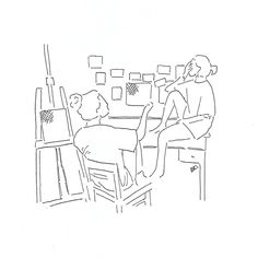 in our lil studio Minimalist Drawing, Minimalist Art, Art Sketches, Art Drawings, Minimal Drawings, Outline Art, Art Friend, Aesthetic Drawing, Simple Art