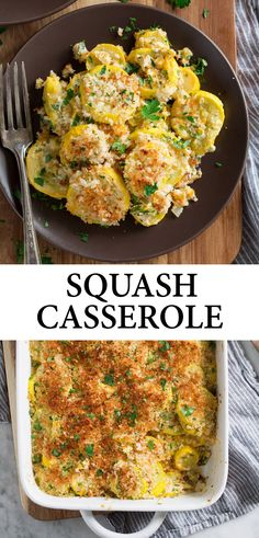 Squash Casserole - made with tender yellow squash, a cheesy, creamy coating and its finished with crispy toasted panko bread crumbs! Its a delicious, homestyle side dish thats perfect for holidays, and a great way to use up the abundance of summer squash. Side Dish Recipes, Vegetable Recipes, Vegetarian Recipes, Cooking Recipes, Healthy Recipes, Simple Recipes, Summer Squash Recipes, Vegan Recipes With Yellow Squash, Baked Squash Recipes
