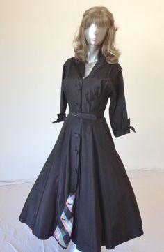 Vintage 1950s Black Taffeta Dress with by RETROGLAMOUR1DOTCOM, $125.00