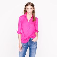 Style Note: Classy button-downs in color are simple to pair with jeans or chinos and good for childcare or everyday style options. Try adding a couple colored feminine cut styles to your wardrobe for versatility. (Indian voile popover)