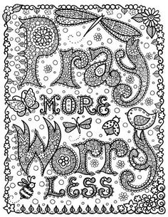 INSTANT Download Pray More Digi Print Original Art for You to CoLoRr Size  81/2 x 11...