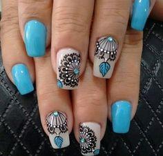 Image Image for mandala nails Fabulous Nails, Gorgeous Nails, Love Nails, Fun Nails, Pretty Nails, Tattoo Australia, Diy Ongles, Nagel Stamping, Mandala Nails