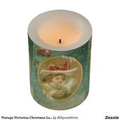 Vintage Victorian Christmas Lady Flameless Candle