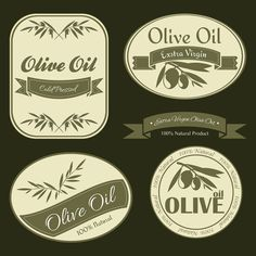 Olive oil vintage labels vector