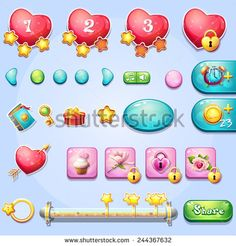 Set of different elements, progress bars, boosters, buttons for computer games and web design on the theme of Valentine's Day