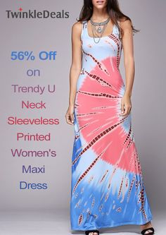 You can get 56% discount on Trendy U Neck Sleeveless Printed Women's Maxi Dress at only Twinkle Deals store. For more Twinkle Deals Coupon Codes visit: http://www.couponcutcode.com/stores/twinkledeals/